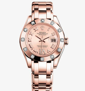 Replica Rolex Lady- Datejust Pearlmaster Watch : 18 kt Everose g